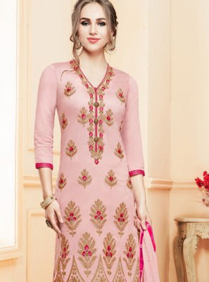 Designer Suit Embroidered Cotton   in Pink