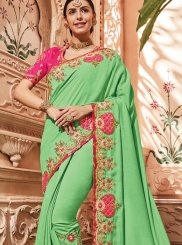 Designer Traditional Saree Embroidered Art Silk in Green