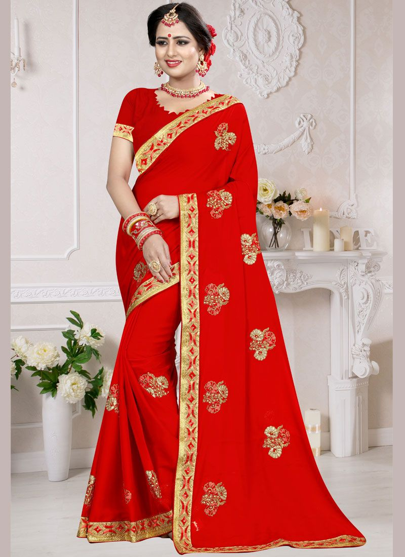 Designer Traditional Saree Embroidered Art Silk in Red