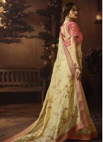 Designer Traditional Saree Embroidered Art Silk in Yellow