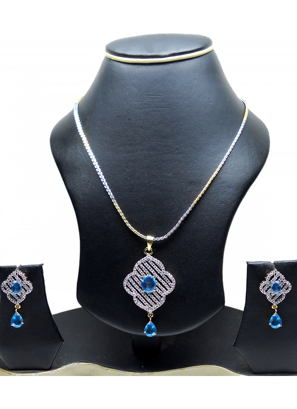 Diamond Gold and Silver Pendant Set