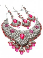 Diamond Pink and White Necklace Set