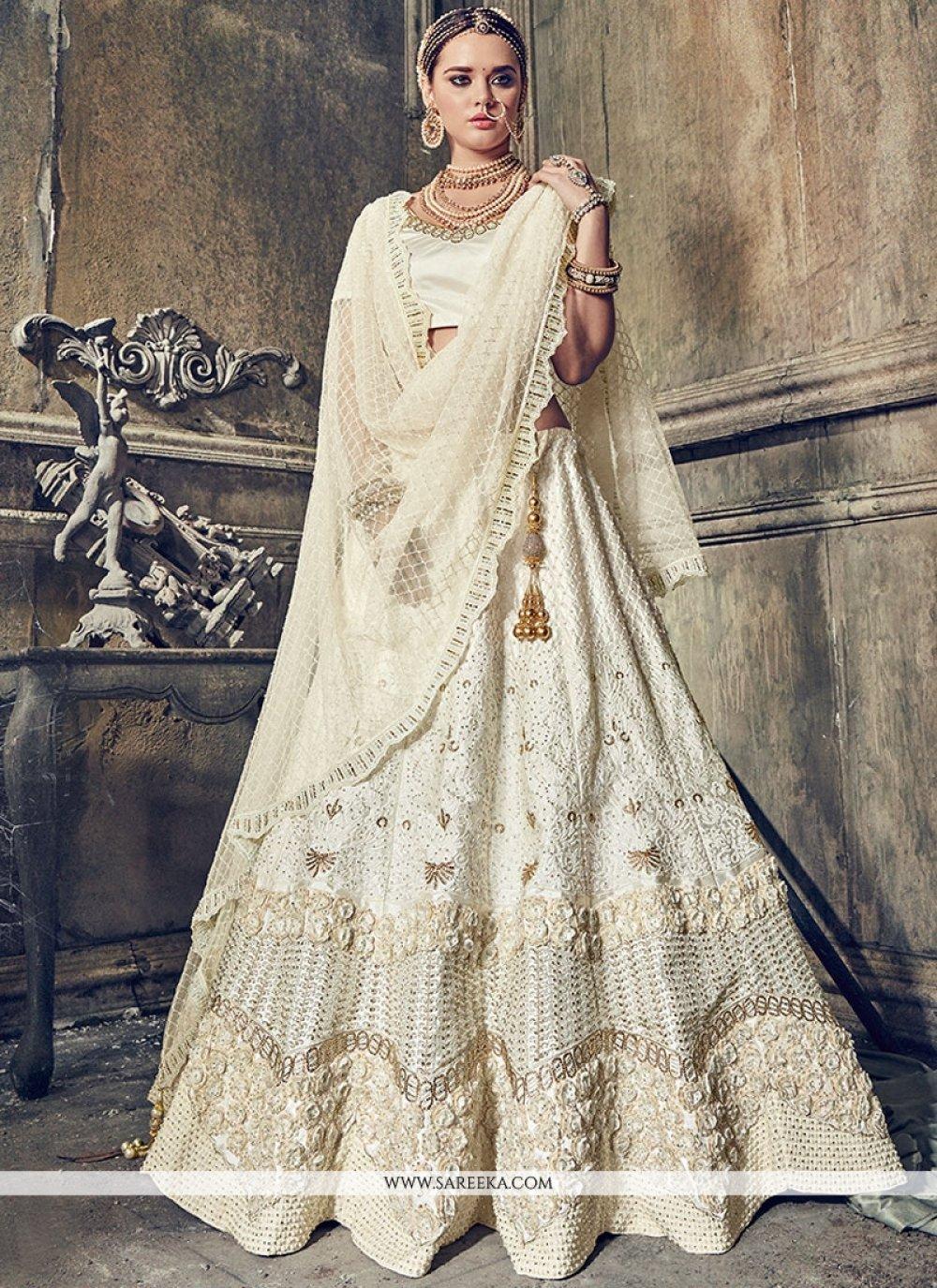 Diamond Work White Satin Lehenga Choli