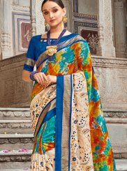 Buy Online Digital Print Art Silk Multi Colour Designer Traditional Saree