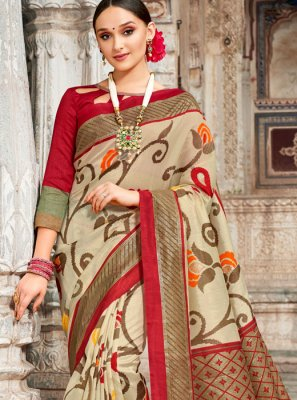 Digital Print Designer Traditional Saree