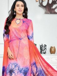 Digital Print Work Blue and Orange Salwar Kameez