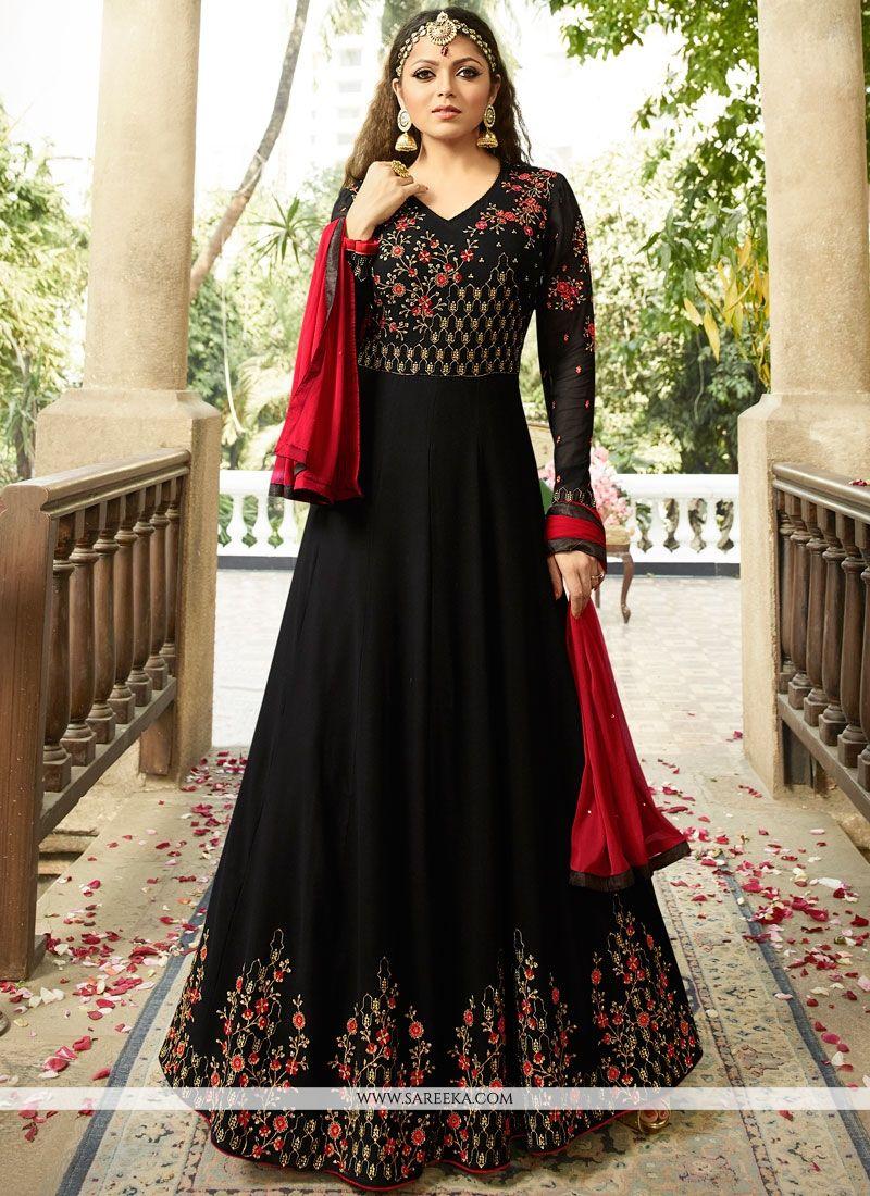 5325396728 Buy Drashti Dhami Black Faux Georgette Floor Length Anarkali Suit Online -