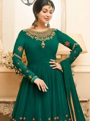 Dreamy Green Colored Embroidered Suit