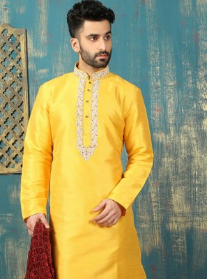 Dupion Silk Kurta Pyjama in Yellow
