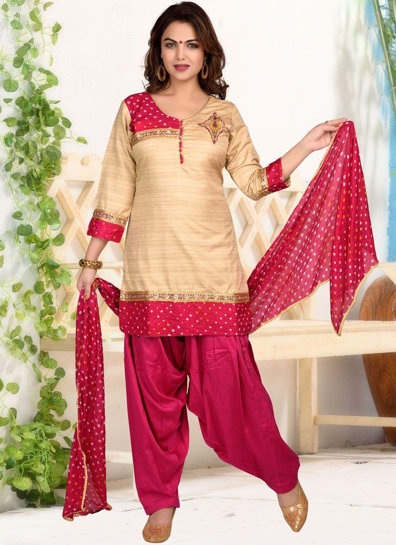 Dupion Silk Print Designer Patiala Suit