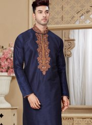 Embroidered Art Dupion Silk Kurta Pyjama in Navy Blue