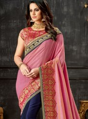 Embroidered Art Silk Blue and Pink Designer Half N Half Saree