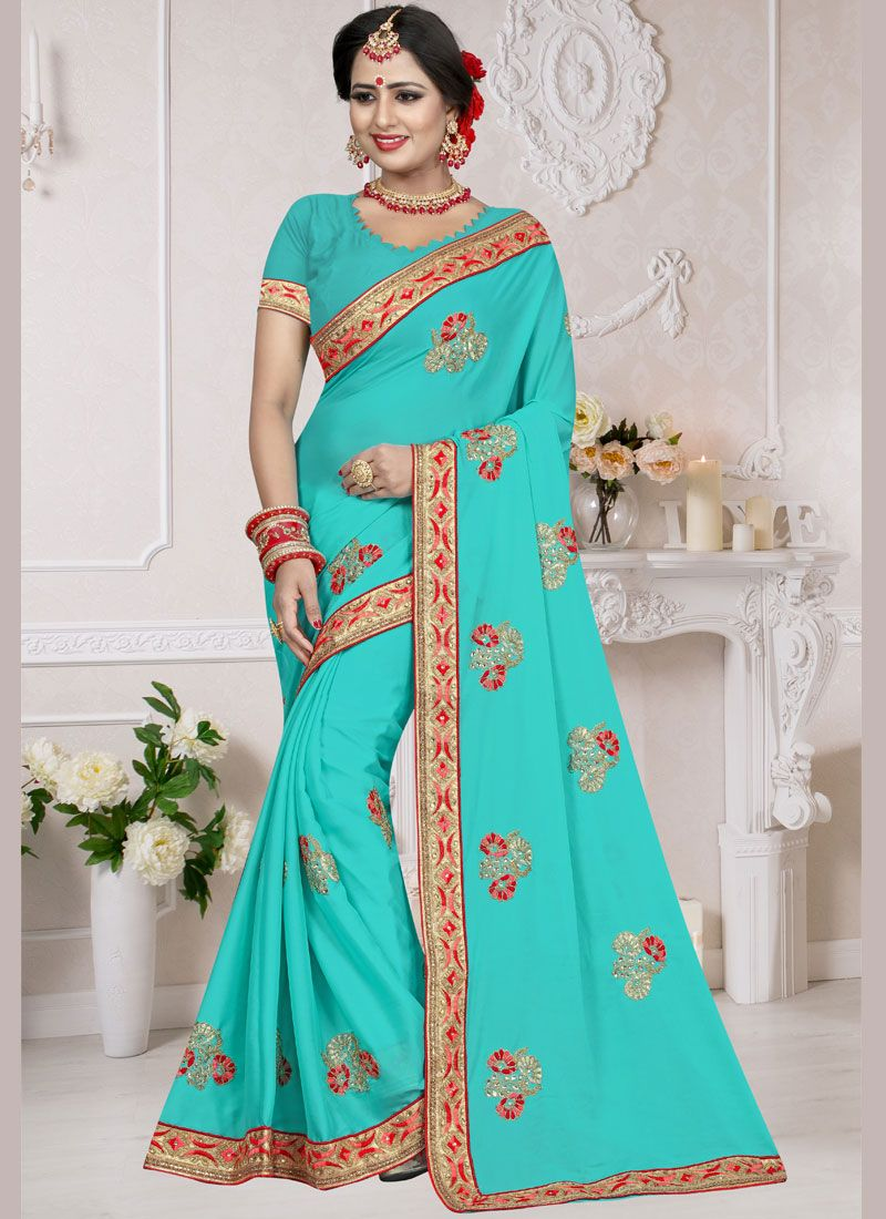 Embroidered Art Silk Blue Traditional Designer Saree