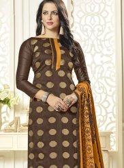 Embroidered Art Silk Brown Churidar Suit