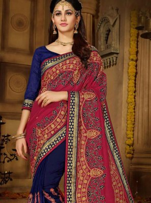 Embroidered Art Silk Designer Half N Half Saree