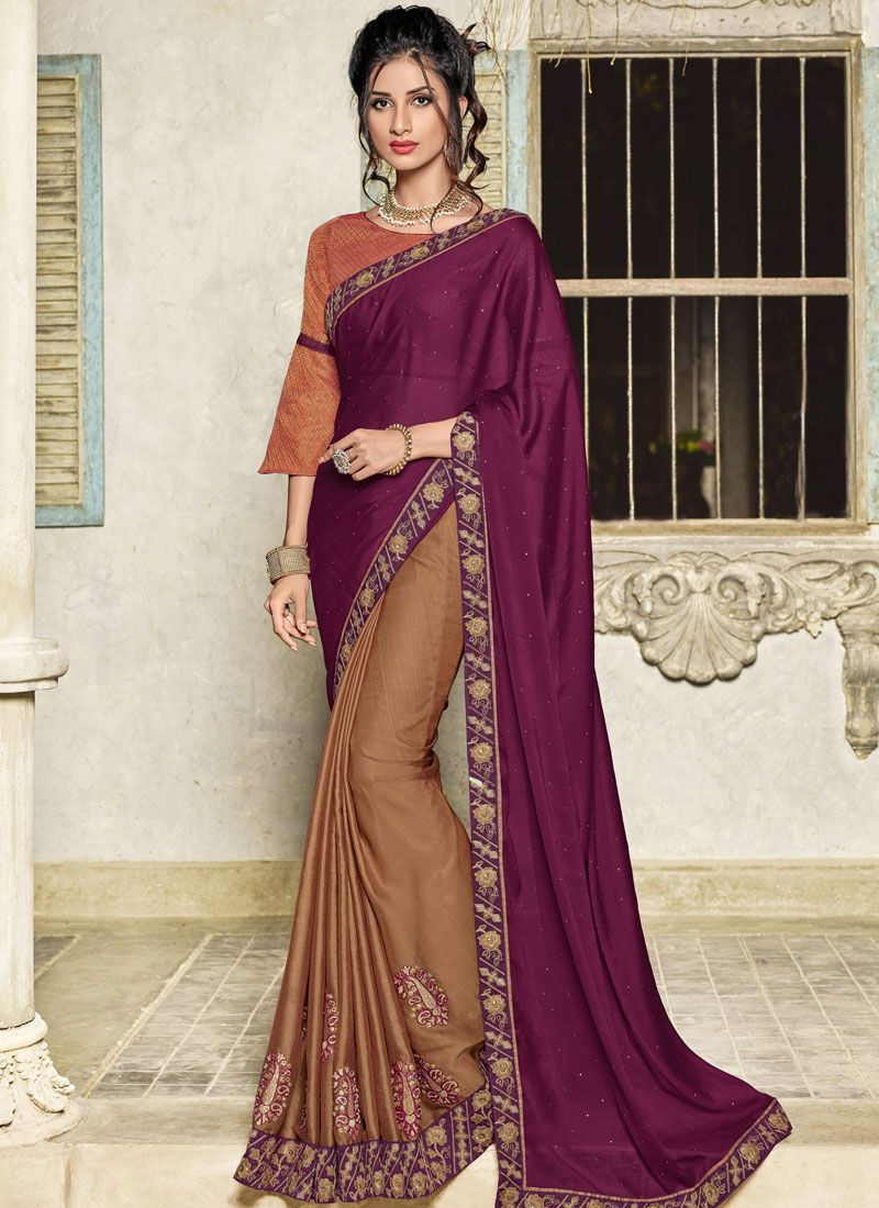Embroidered Art Silk Designer Half N Half Saree in Brown and Wine