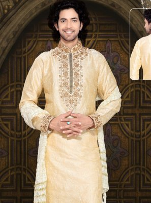 Embroidered Art Silk Kurta Pyjama in Cream