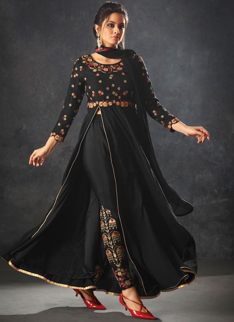 Embroidered Art Silk Pant Style Suit in Black