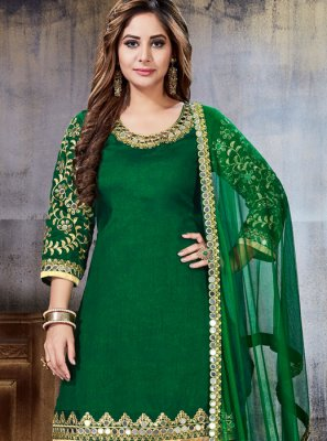 Embroidered Art Silk Punjabi Suit in Green
