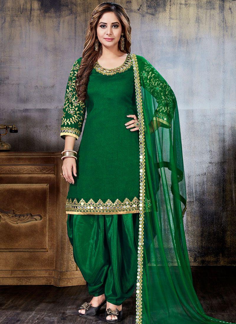 96c2bfdbf3 Shop Online Embroidered Art Silk Punjabi Suit in Green : 88746 -