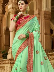Embroidered Art Silk Sea Green Traditional Saree