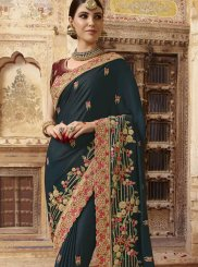Embroidered Art Silk Teal Designer Traditional Saree