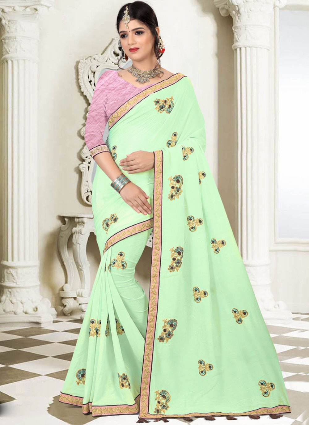 Embroidered Art Silk Traditional Designer Saree in Green