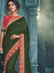 Embroidered Art Silk Traditional  Saree in Green
