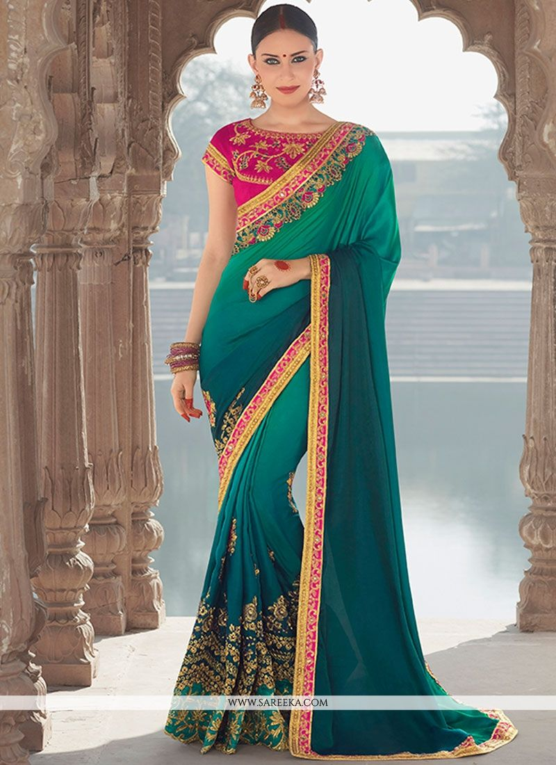 Embroidered Banglori Silk Designer Saree in Sea Green