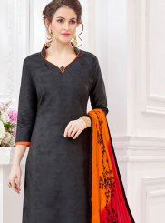 Embroidered Black Cotton   Churidar Suit