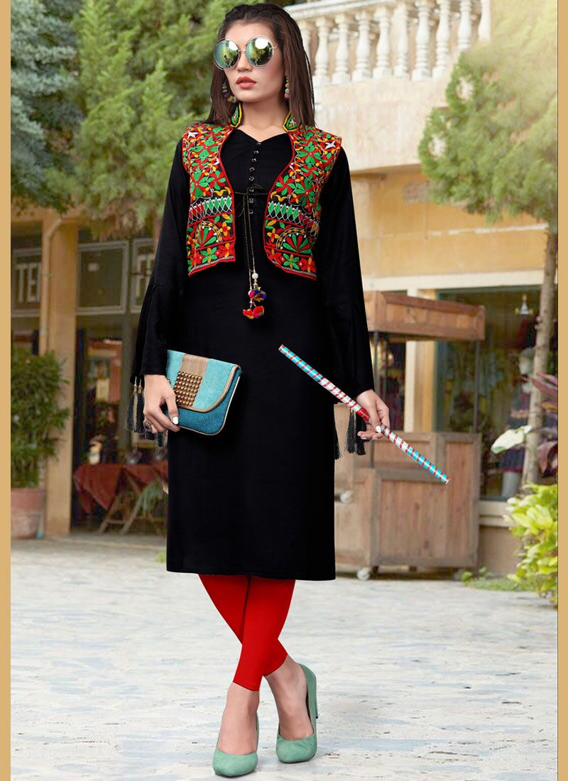 1048c8d5fb Shop Embroidered Black Fancy Fabric Party Wear Kurti Online : 88270 -