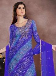 Embroidered Blue Chanderi Churidar Designer Suit
