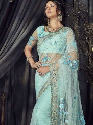 Embroidered Blue Classic Saree