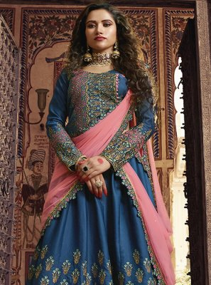 Embroidered Blue Silk Designer Lehenga Choli