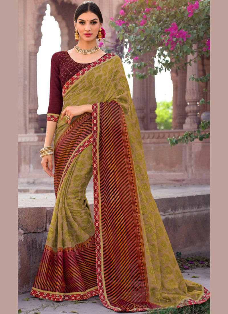Embroidered Brasso Classic Saree in Green