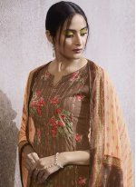 Embroidered Brown Designer Palazzo Suit