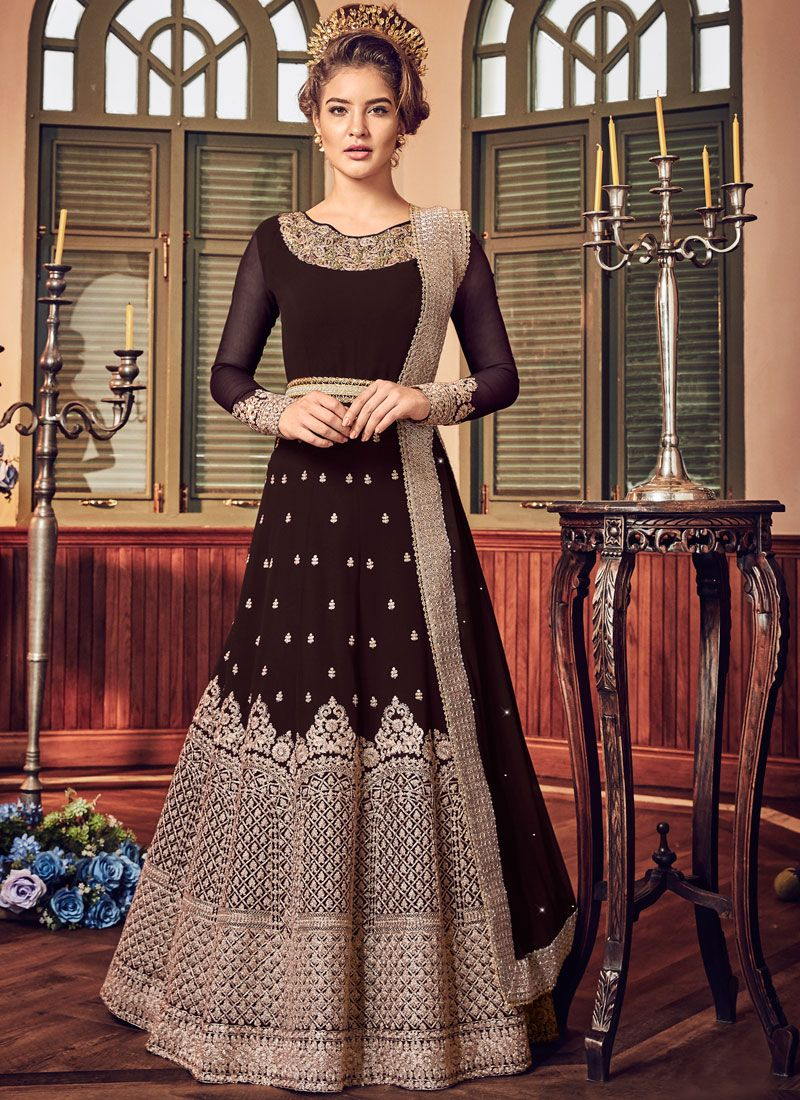 Embroidered Brown Fancy Fabric Floor Length Anarkali Suit