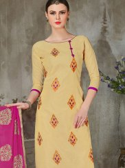 Embroidered Chanderi Churidar Suit in Beige