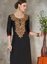 Embroidered Chanderi Churidar Suit in Black
