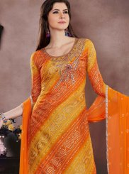 Embroidered Chanderi Cotton Churidar Suit in Orange and Yellow