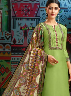 Embroidered Chanderi Cotton Designer Palazzo Suit