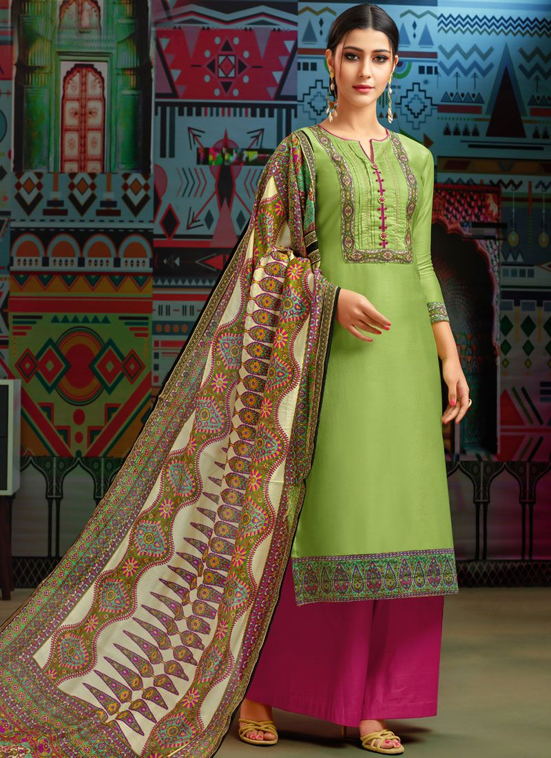 Embroidered Chanderi Cotton Designer Palazzo Suit