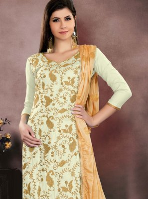 Embroidered Cotton   Churidar Salwar Kameez in Off White