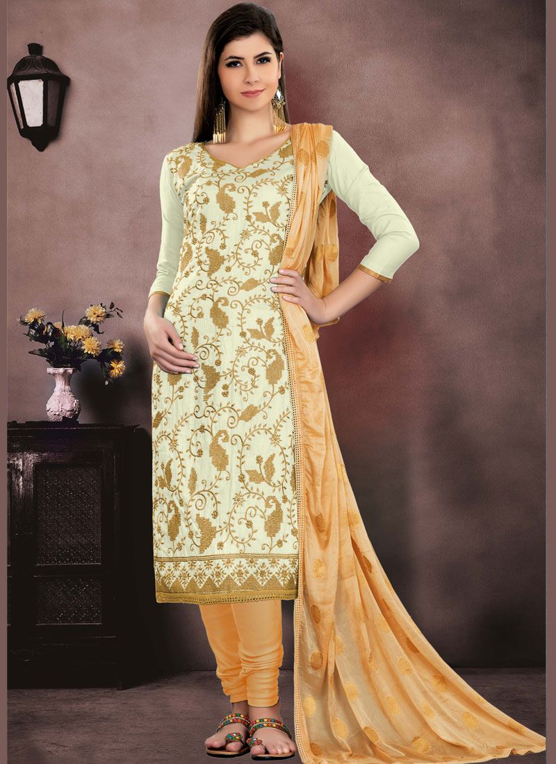 Embroidered Cotton   Churidar Salwar Kameez in Off White