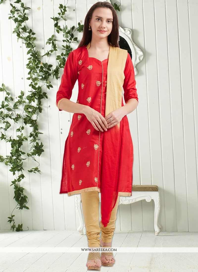 Embroidered Cotton   Churidar Suit in Red