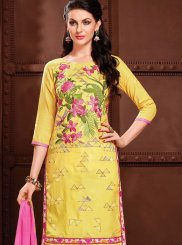 Embroidered Cotton   Churidar Suit in Yellow