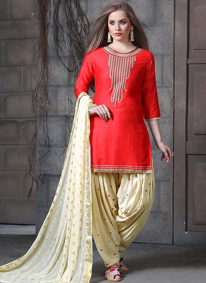 Embroidered Cotton   Designer Patiala Suit in Red