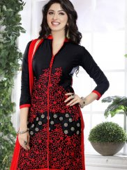 Embroidered Cotton   Designer Straight Suit in Black