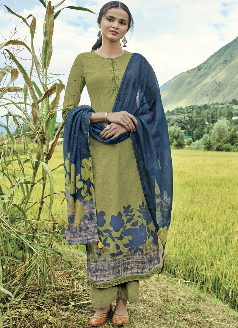 Embroidered Cotton Lawn Designer Suit in Green
