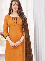 Embroidered Cotton   Orange Churidar Suit